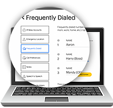 Create preferences for call such as frequently dialed numbers and emergency numbers